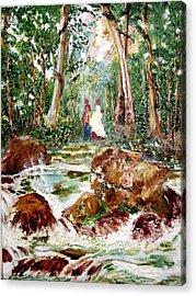 Village Stream Acrylic Print by Narayan Iyer