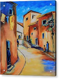 Village Street In Tuscany Acrylic Print