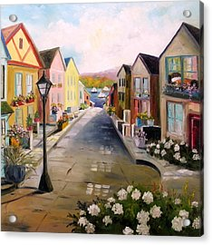 Acrylic Print featuring the painting Village Street by John Williams