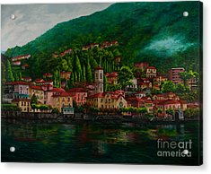 Village View On Lake Como  Acrylic Print by Charlotte Blanchard