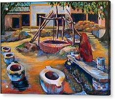 Village Well Acrylic Print by Art Nomad Sandra  Hansen