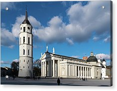 Vilnius Bell Tower And Cathedral Acrylic Print