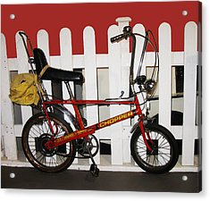 Vintage 1970s Bike With Rucksack  Acrylic Print by Tom Conway