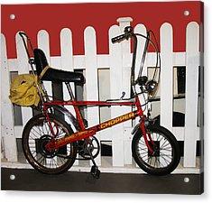 Vintage 1970s Bike With Rucksack  Acrylic Print