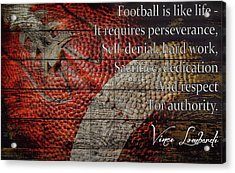 Vince Lombardi Football Quote Barn Door Acrylic Print