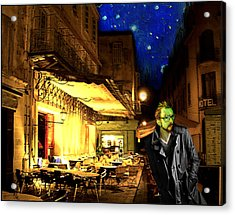 Vincent At The Cafe At Night Acrylic Print