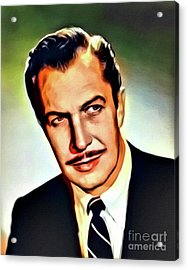 Vincent Price, Vintage Actor. Digital Art By Mb Acrylic Print by Mary Bassett