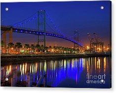 Vincent Thomas Bridge Acrylic Print by Eddie Yerkish