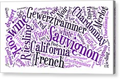 Wine Word Cloud Acrylic Print by Edward Fielding