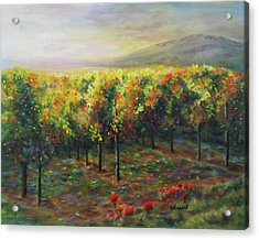 Vineyard Glow Acrylic Print by Becky Chappell
