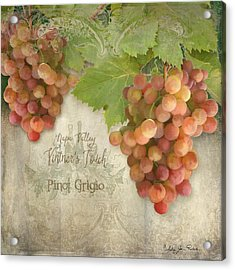 Vineyard - Napa Valley Vintner's Touch Pinot Grigio Grapes  Acrylic Print by Audrey Jeanne Roberts