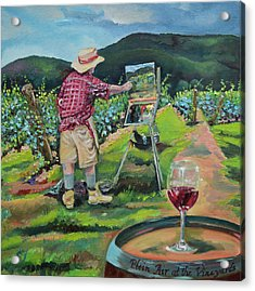 Acrylic Print featuring the painting Vineyard Plein Air Painting - We Paint With Wine by Jan Dappen