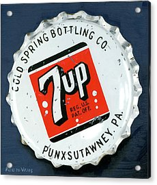 Vintag Bottle Cap, 7up Acrylic Print by Rob De Vries