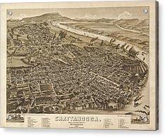 Vintage 1886 Chattanooga Map Acrylic Print