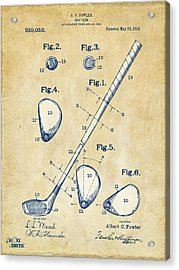 Vintage 1910 Golf Club Patent Artwork Acrylic Print by Nikki Marie Smith
