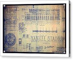 Vintage 1920s Art Deco Yankee Stadium Blueprint Autographed By Joe Dimaggio Acrylic Print
