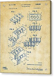 Vintage 1961 Toy Building Brick Patent Art Acrylic Print by Nikki Marie Smith