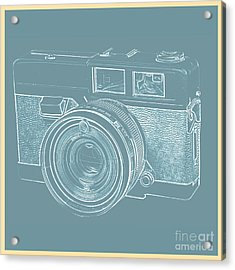 Vintage 35mm Film Camera Blue Pop Art Acrylic Print by Edward Fielding