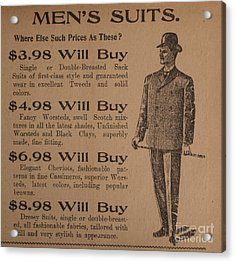 Vintage Ad For Men's Suits Acrylic Print by Edward Fielding