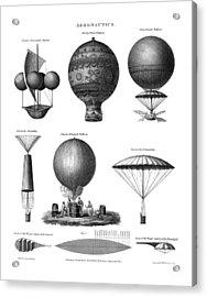 Vintage Aeronautics - Early Balloon Designs Acrylic Print by War Is Hell Store