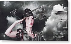Vintage Air Force Fighter Pilot Saluting Acrylic Print