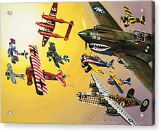 Vintage Aircraft Montage Acrylic Print by Wilf Hardy
