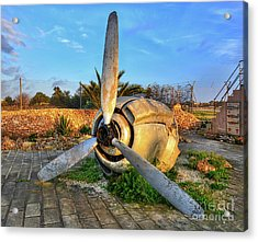 Vintage Airplane Propeller At Sunrise Acrylic Print by Stephan Grixti