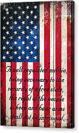 Vintage American Flag And 2nd Amendment On Old Wood Planks Acrylic Print