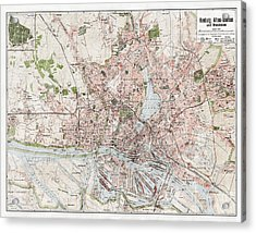 Vintage Antique Hamburg Germany City Map Acrylic Print by ELITE IMAGE photography By Chad McDermott