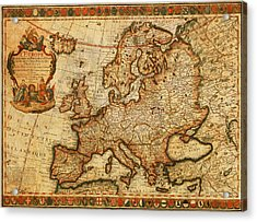 Vintage Antique Map Of Europe French Origin Circa 1700 On Worn Distressed Parchment Canvas Acrylic Print by Design Turnpike
