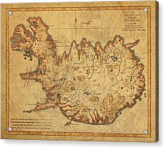 Vintage Antique Map Of Iceland Acrylic Print by Design Turnpike