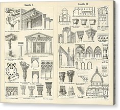Vintage Architectural Drawings  Baustile I And Baustile II Acrylic Print