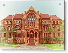 Vintage Architectural Photograph Of Ashbel Smith Old Red Building At Utmb - Downtown Galveston Texas Acrylic Print