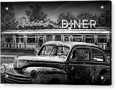 Vintage Automobile Langishing With Historic Rosie's Diner Acrylic Print by Randall Nyhof