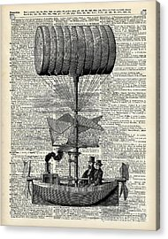 Vintage Ballon Airship  Over A Old Dictionary Page Acrylic Print