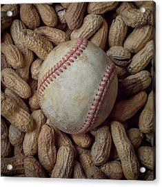 Vintage Baseball And Peanuts Square Acrylic Print