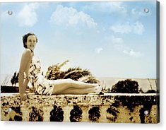 Vintage Beach Beauty Acrylic Print
