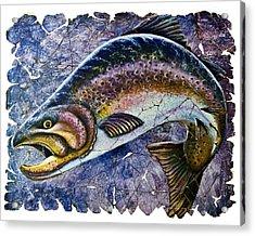 Vintage Blue Trout Fresco  Acrylic Print