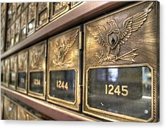 Vintage Brass Post Offic Mail Box Federal Eagle Postal Usps Acrylic Print by Jane Linders
