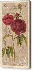 Vintage Burlap Floral 3 Acrylic Print by Debbie DeWitt