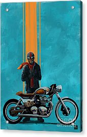 Acrylic Print featuring the painting Vintage Cafe Racer  by Sassan Filsoof