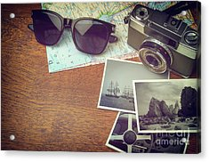 Vintage Camera And Map Acrylic Print by Carlos Caetano