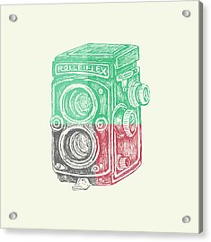 Vintage Camera Color Acrylic Print by Brandi Fitzgerald