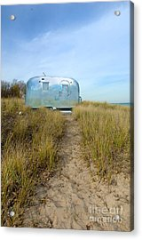 Vintage Camping Trailer Near The Sea Acrylic Print by Jill Battaglia