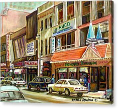 Vintage Canadian Scenes Original Art Downtown Montreal Paintings For Sale Howard Johnson's Resto  Acrylic Print