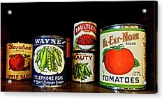 Vintage Canned Vegetables Acrylic Print by Joan Reese