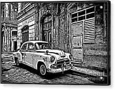 Vintage Car Graphic Novel Style Acrylic Print by Edward Fielding