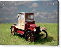 Vintage Car Painting Acrylic Print by Michael Greenaway