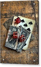 Vintage Cards Dice And Cash Acrylic Print