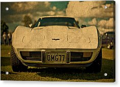 Vintage Chevy Corvette Front View License Plate Acrylic Print by Design Turnpike